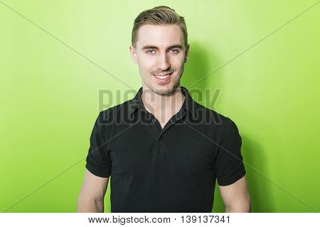 A  nice Young caucasian smiling handsome man