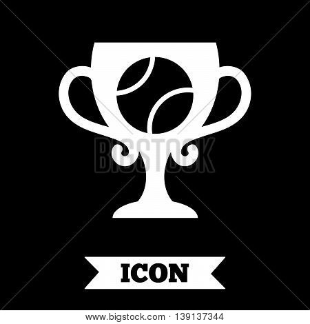 Tennis ball sign icon. Sport symbol. Winner award cup. Graphic design element. Flat tennis ball symbol on dark background. Vector