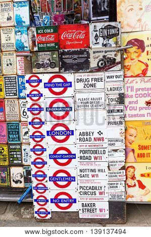 Vintage Enamel Signs At A Shop At Portobello Road, London, Uk