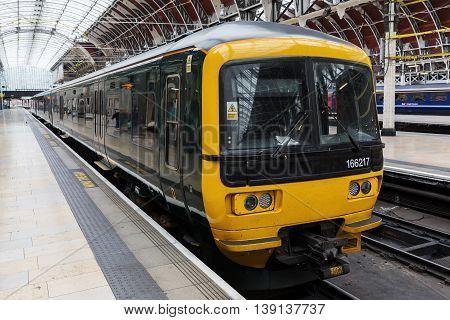 Train At London Paddington Station In London, Uk