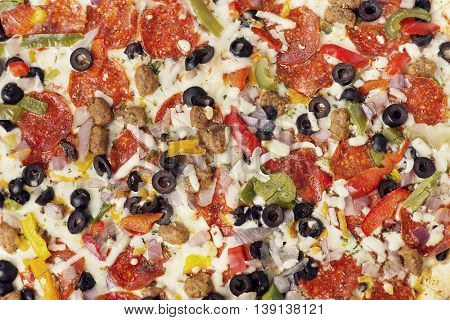 Pizza with pepperoni , sausages and vegetables for  background