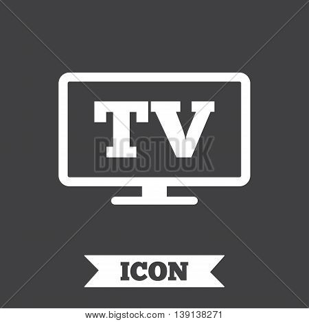 Widescreen TV sign icon. Television set symbol. Graphic design element. Flat tV symbol on dark background. Vector