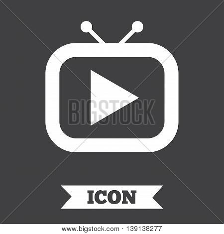 Retro TV mode sign icon. Television set symbol. Graphic design element. Flat tV mode symbol on dark background. Vector