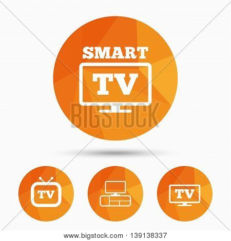Smart TV mode icon. Widescreen symbol. Retro television and TV table signs. Triangular low poly buttons with shadow. Vector