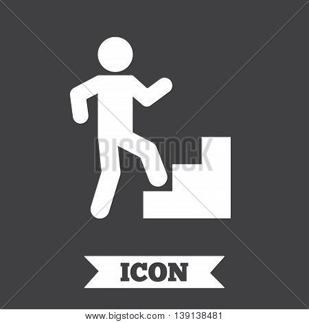 Upstairs icon. Human walking on ladder sign. Graphic design element. Flat upstairs symbol on dark background. Vector