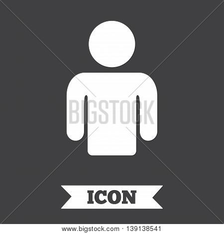 User sign icon. Person symbol. Human avatar. Graphic design element. Flat human avatar symbol on dark background. Vector