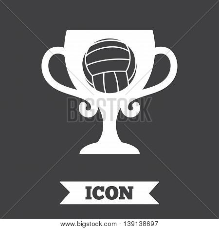 Volleyball sign icon. Beach sport symbol. Winner award cup. Graphic design element. Flat volleyball symbol on dark background. Vector