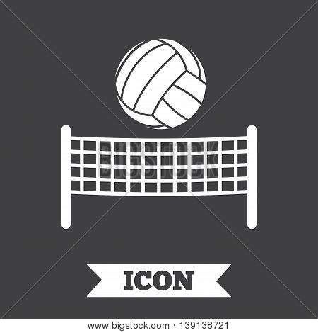 Volleyball net with ball sign icon. Beach sport symbol. Graphic design element. Flat volleyball symbol on dark background. Vector