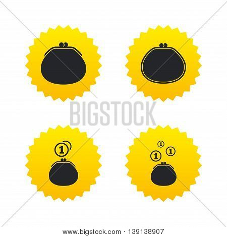 Wallet with coins icons. Cash bag signs. Retro wealth symbol. Yellow stars labels with flat icons. Vector