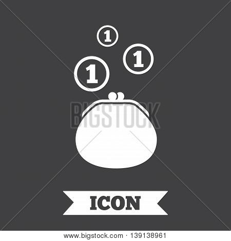 Wallet sign icon. Cash coins bag symbol. Graphic design element. Flat wallet symbol on dark background. Vector