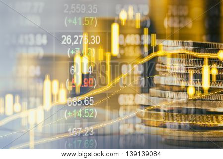 Graph of stock market data and financial with stock analysis indicator. Candle stick graph chart of stock market ,stock market data graph chart on LED display concept.