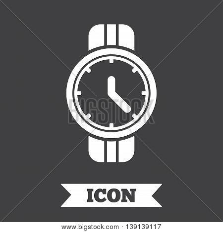 Wrist Watch sign icon. Mechanical clock symbol. Men hand watch. Graphic design element. Flat mechanical clock symbol on dark background. Vector
