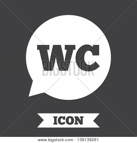 WC Toilet sign icon. Restroom or lavatory speech bubble symbol. Graphic design element. Flat wC toilet symbol on dark background. Vector