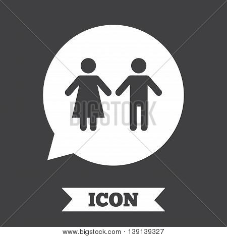 Toilet sign icon. Restroom or lavatory speech bubble symbol. Graphic design element. Flat toilet symbol on dark background. Vector