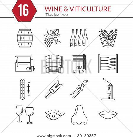 Set of winemaking and wine tasting icons in modern thin line style isolated on white background. High quality outline symbol collection. Simple mono linear pictogram pack. Stroke raster logo concept.