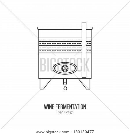 Stainless steel wine tank. Single logo in modern thin line style isolated on white background. Outline winery symbol. Simple mono linear pictogram. Stroke vector logotype template.