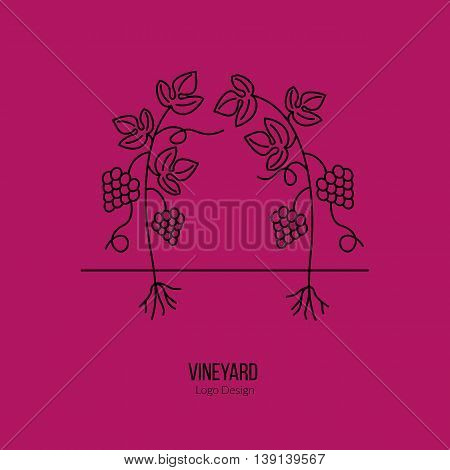 Growing grapes. Single logo in modern thin line style isolated on red background. Outline winery symbol. Simple mono linear pictogram. Stroke vector logotype template.