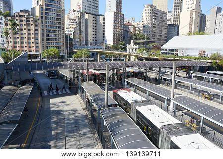 Sao Paulo Brazil - June 27 2016: View of Terminal Bandeira a bus terminal in the city of Sao Paulo Brazil.