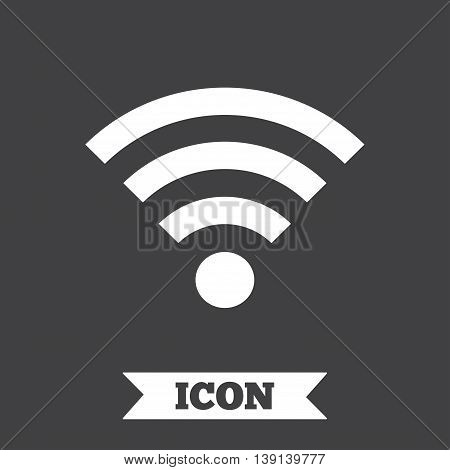 Wifi sign. Wi-fi symbol. Wireless Network icon. Wifi zone. Graphic design element. Flat wi-fi symbol on dark background. Vector