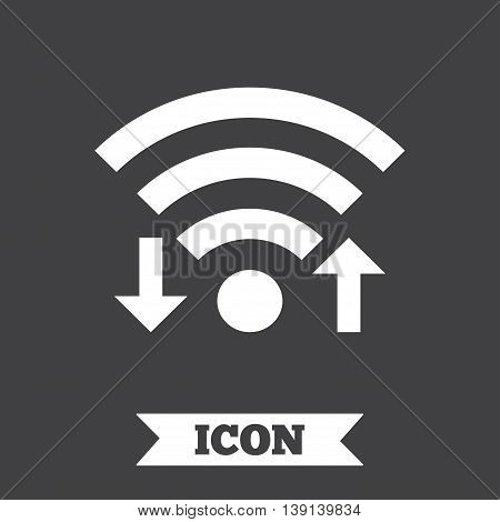 Wifi signal sign. Wi-fi upload, download symbol. Wireless Network icon. Internet zone. Graphic design element. Flat wifi signal symbol on dark background. Vector