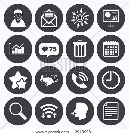 Calendar, wifi and clock symbols. Like counter, stars symbols. Office, documents and business icons. Businessman, handshake and call signs. Chart, presentation and mail symbols. Talking head, go to web symbols. Vector