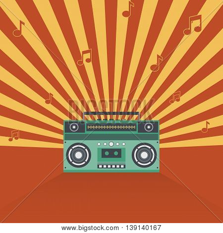 Boombox retro vintage style music abstract vector illustration