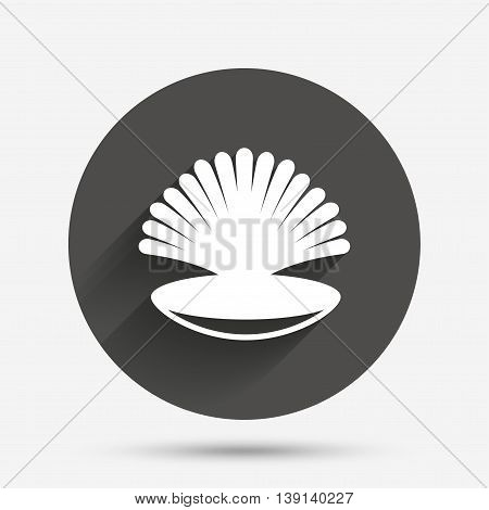 Sea shell sign icon. Conch symbol. Travel icon. Circle flat button with shadow. Vector