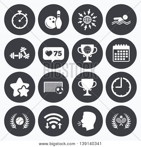 Calendar, wifi and clock symbols. Like counter, stars symbols. Sport games, fitness icons. Football, tennis and volleyball signs. Swimming, timer and bowling symbols. Talking head, go to web symbols. Vector