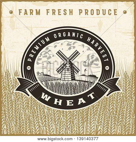 Vintage wheat harvest label