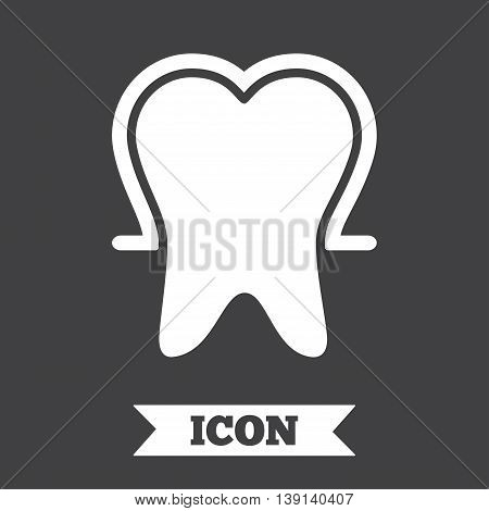 Tooth enamel protection sign icon. Dental toothpaste care symbol. Healthy teeth. Graphic design element. Flat tooth protection symbol on dark background. Vector