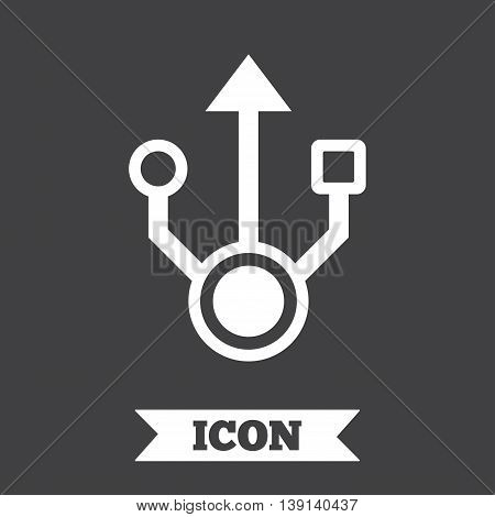 Usb sign icon. Usb flash drive symbol. Graphic design element. Flat usb drive symbol on dark background. Vector