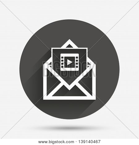 Video mail icon. Video frame symbol. Message sign. Circle flat button with shadow. Vector