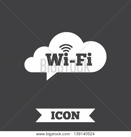 Free wifi sign. Wifi symbol. Wireless Network icon. Wifi zone. Graphic design element. Flat wireless internet symbol on dark background. Vector