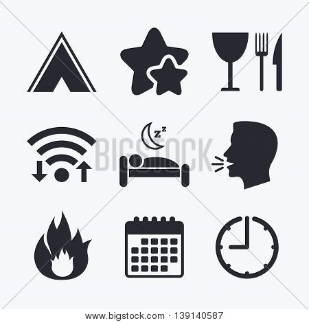 Food, sleep, camping tent and fire icons. Knife, fork and wineglass. Hotel or bed and breakfast. Road signs. Wifi internet, favorite stars, calendar and clock. Talking head. Vector