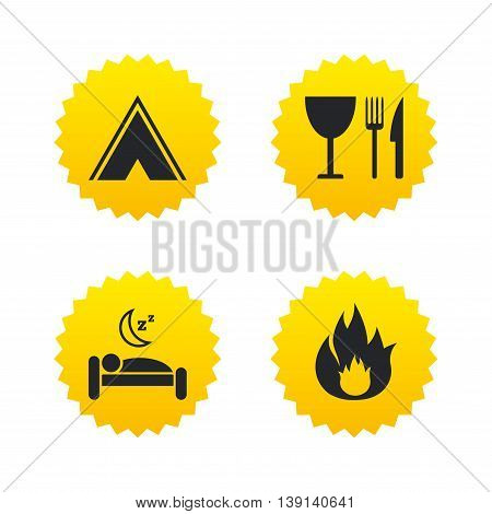 Food, sleep, camping tent and fire icons. Knife, fork and wineglass. Hotel or bed and breakfast. Road signs. Yellow stars labels with flat icons. Vector