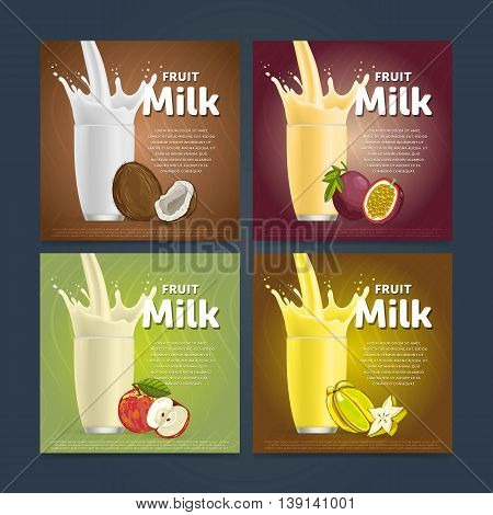 Banners of fruit milkshake dessert cocktail glass fresh drink in cartoon vector illustration. Fruit milk splash. Milk cocktail dessert. Delicious drink. Glass of fruit milkshake. Sweet milk drink. Milk splash in a glass. Milkshake.