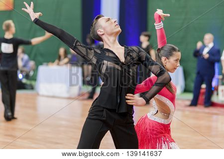 Minsk Belarus -May 29 2016: Kruk Timophey and Konopleva Diana Perform Youth-2 Latin-American Program on National Championship of the Republic of Belarus in May 29 2016 in Minsk Belarus