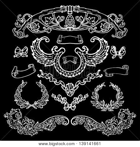 Laurel wreaths, banners, branches set. Hand drawn design elements. Decorative elements at engraving style. Chalk on blackboard.