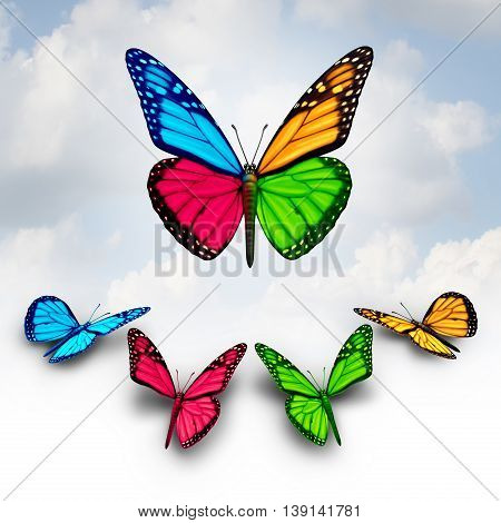 Collaboration business concept of success as a team of diverse butterflies collaborating together by donating or giving a wing portion to build a stronger successful organization symbol as a 3D illustration.