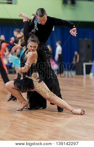Minsk Belarus -May 29 2016: Puschin Aleksei and Makovskaya Valeriya Perform Adult Latin-American Program on National Championship of the Republic of Belarus in May 29 2016 in Minsk Belarus
