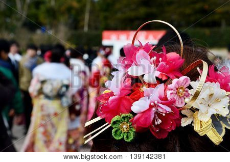 Japanese women hair decoration from Coming of Age day ceremony in Japan