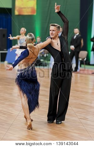 Minsk Belarus -May 29 2016: Sabolevskiy Iliya and Buldyk Arina Perform Adult Latin-American Program on National Championship of the Republic of Belarus in May 29 2016 in Minsk Belarus