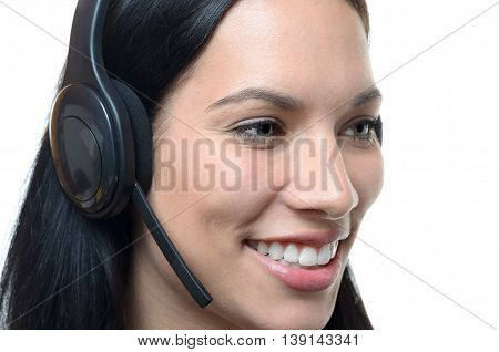 Smiling Friendly Young Woman Wearing A Headset