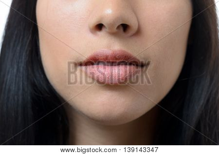 Natural Lips And Mouth Of A Young Woman