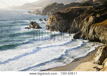 The coastline in the Big Sur area of California.