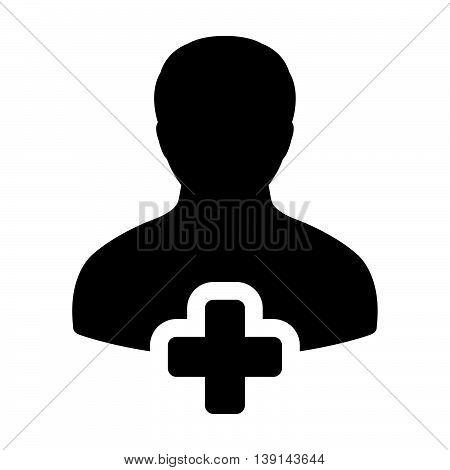 Add User Icon - Man, Profile, Businessman, Person Glyph Vector illustration
