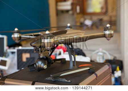 Close up of drone parked on the table