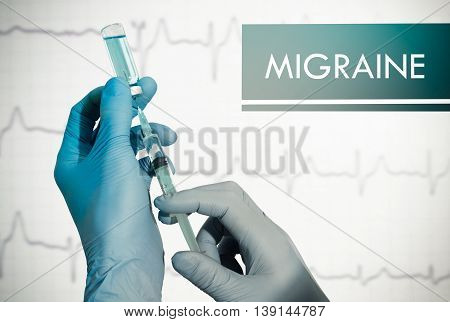 Stop migraine. Syringe is filled with injection. Syringe and vaccine
