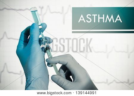 Stop asthma. Syringe is filled with injection. Syringe and vaccine