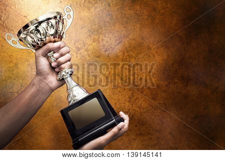 hand holding up a gold trophy cup as a winner in a competition